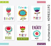 set of 6 cute creative cards...   Shutterstock .eps vector #409831192