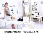 attractive businesswoman... | Shutterstock . vector #409868575