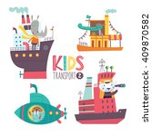 kids transport collection with... | Shutterstock .eps vector #409870582