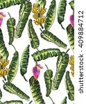 banana leaves blossom...   Shutterstock . vector #409884712
