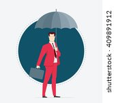 Businessman in red suit. Umbrella. Flat style vector illustration. - stock vector