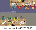 vector workspace for business...   Shutterstock .eps vector #409898095