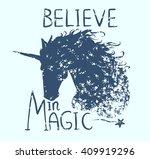 believe in magic. cute... | Shutterstock .eps vector #409919296
