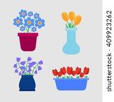 flower pots icons. spring...   Shutterstock . vector #409923262