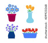 flower pots icons. spring... | Shutterstock . vector #409923268