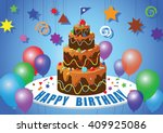 happy birthday with balloons... | Shutterstock .eps vector #409925086