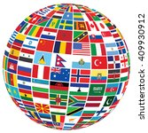 ball covered with world flags... | Shutterstock . vector #409930912