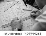mechanical engineer at work.... | Shutterstock . vector #409944265