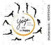 vector illustration of yoga... | Shutterstock .eps vector #409954426