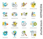 set of flat line design icons... | Shutterstock .eps vector #409960306