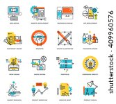 set of flat line design icons...