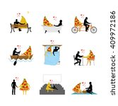 love of pizza set. man and... | Shutterstock .eps vector #409972186