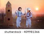 two adorable children  boy... | Shutterstock . vector #409981366