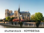 Small photo of Notre Dame of Parison the late afternoon in Spring. Last rays of Sun in the evening.