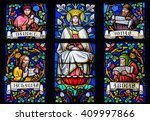 Small photo of PRAGUE, CZECH REPUBLIC - APRIL 2, 2016: Stained Glass window in St. Vitus Cathedral, Prague, depicting Mother Mary and the Prophets Daniel, Jonah, Zachary and Abdias.