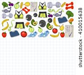 healthy lifestyle icons doodle... | Shutterstock .eps vector #410015638