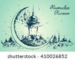 beautiful arabian lantern on... | Shutterstock .eps vector #410026852