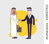 arab person shaking hands with... | Shutterstock .eps vector #410037412