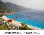 turkish flag over a beach on a... | Shutterstock . vector #410050912
