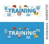 training lettering flat line... | Shutterstock .eps vector #410054755