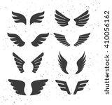 Set Of Monochrome Open Wings...