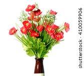 artificial red flowers in vase... | Shutterstock . vector #410059906