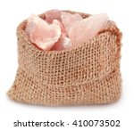Small photo of Saindhava lavana or Himalayan Pink rock salt over white background