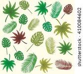 tropical banana leaves  aralia  ... | Shutterstock .eps vector #410084602