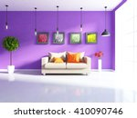 purple room with sofa. 3d... | Shutterstock . vector #410090746