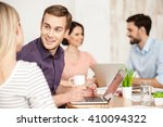 cheerful creative team is... | Shutterstock . vector #410094322