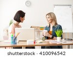 cute young businesswomen are... | Shutterstock . vector #410096542