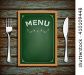 wooden board with menu and... | Shutterstock . vector #410109448