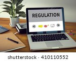 regulation laptop on table.... | Shutterstock . vector #410110552