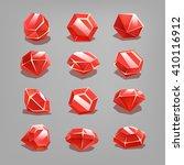 set of cartoon red gems. vector ...