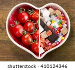 healthy and unhealthy food.... | Shutterstock . vector #410124346