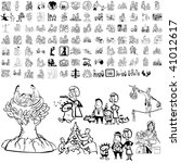 Stock vector family set of black sketch part isolated groups and layers 41012617