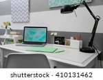 stylish workplace with laptop... | Shutterstock . vector #410131462