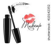 makeup mascara tube  brush and... | Shutterstock .eps vector #410142352