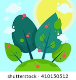 apple tree garden in a sunny day | Shutterstock .eps vector #410150512