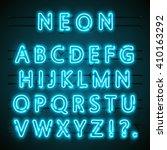 neon font text. neon blue font... | Shutterstock .eps vector #410163292
