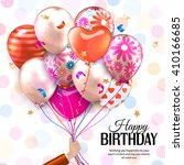 birthday card with hand holds...   Shutterstock .eps vector #410166685