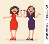 two girls singing. karaoke.... | Shutterstock .eps vector #410180725