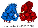 a donkey and elephant squaring... | Shutterstock .eps vector #410181682