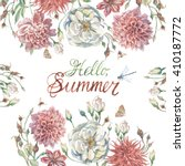 hand drawn watercolor summer... | Shutterstock . vector #410187772