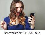 closeup portrait anxious scared ... | Shutterstock . vector #410201536