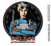 professional woman welder pop... | Shutterstock .eps vector #410223322