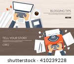 workplace with typewriter. flat ... | Shutterstock .eps vector #410239228