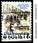 Small photo of STAVROPOL, RUSSIA - APRIL 05, 2016: a stamp printed in USA shows Orville and Wildur Wright Aviation Pioneers, payment airmail, circa 1976