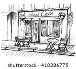 street cafe without people in... | Shutterstock .eps vector #410286775