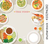 thai food and cuisine frame ... | Shutterstock .eps vector #410296282